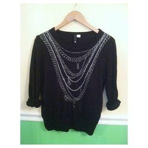 Black H&M Chain Design Sweater